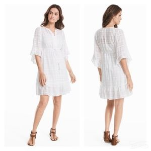 NWT WHBM White 3/4 Ruffle Boho Blouson Dress SZ S
